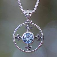 Blue topaz pendant necklace, 'Around the World' - Blue topaz pendant necklace