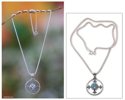 Blue topaz pendant necklace, 'Around the World' - Blue topaz pendant necklace