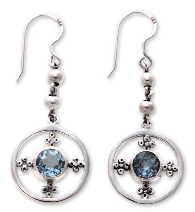 Handcrafted Sterling Silver and Blue Topaz Dangle Earrings