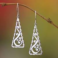 Sterling silver dangle earrings, 'Bamboo Lace' - Indonesian Sterling Silver Dangle Earrings