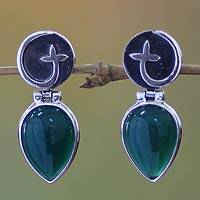 Agate dangle earrings, 'Minang Flower' - Sterling Silver and Agate Drop Earrings