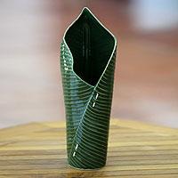 Stoneware ceramic vase, 'Banana Leaf' - Artisan Crafted Green Stoneware Vase