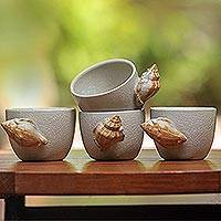Ceramic teacups, 'Seashells' (set of 4) - Ceramic teacups (Set of 4)