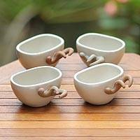 Ceramic teacups, 'Uniqo' (set of 4) - Ceramic teacups (Set of 4)