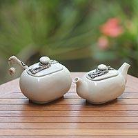 Ceramic creamer and sugar bowl set, 'Batik Legacy' - Ceramic creamer and sugar bowl set