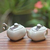 Ceramic creamer and sugar bowl set, 'Batik Legend' - Indonesian Ceramic Cream and Sugar Set