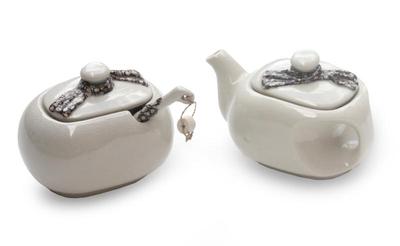 Ceramic creamer and sugar bowl set, 'Batik Legend' - Unique Ceramic Creamer and Sugar Bowl Set