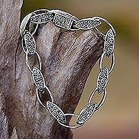 Sterling silver link bracelet, 'Balinese Walnut' - Fair Trade Sterling Silver Link Bracelet