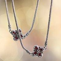 Garnet flower long necklace, 'Red Frangipani' - Floral Sterling Silver and Garnet Necklace