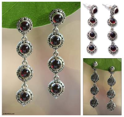 Garnet dangle earrings, 'Orion Light' - Hand Made Sterling Silver and Garnet Dangle Earrings
