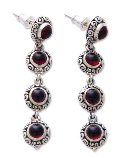 Garnet dangle earrings, 'Orion Light' - Hand Made Sterling Silver and Garnet Dangle Earrings
