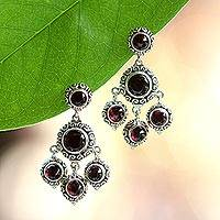 Garnet chandelier earrings, 'Blessing' - Garnet Chandelier Earrings Handcrafted in Sterling Silver