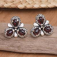 Garnet flower earrings, 'Red Bougainvillea' - Artisan Crafted Sterling Silver and Garnet Button Earrings