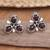 Garnet flower earrings, 'Red Bougainvillea' - Artisan Crafted Sterling Silver and Garnet Button Earrings (image 2) thumbail