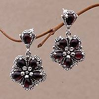 Garnet flower earrings, 'Red Frangipani' - Floral Sterling Silver and Garnet Dangle Earrings