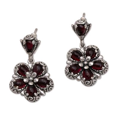 Garnet flower earrings, 'Red Frangipani' - Floral Sterling Silver and Garnet Dangle Earrings