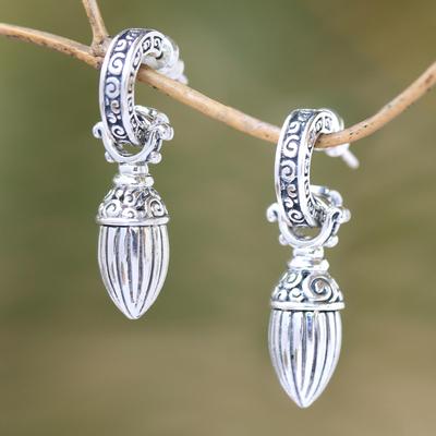 Sterling silver dangle earrings, 'Balinese Walnut' - Indonesian Sterling Silver Dangle Earrings
