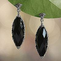Onyx dangle earrings, 'Eye of the Soul' - Artisan Crafted Onyx Dangle Earrings
