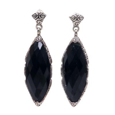 Onyx dangle earrings, 'Eye of the Soul' - Artisan Crafted Onyx Dangle Earrings