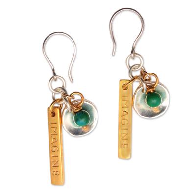 Chrysocolla Gold Plated Dangle Earrings