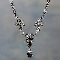 Onyx and garnet Y necklace, 'Arabesque Heart' - Hand Made Sterling Silver and Onyx Y Necklace