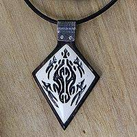 Ebony wood and bone pendant necklace, 'Turtle Protection'