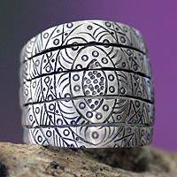 Sterling silver band ring, 'True Honor' - Handcrafted Sterling Silver Band Ring