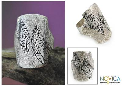 Sterling silver cocktail ring, 'Tuareg Fantasy' - Taureg Inspired Handcrafted Sterling Silver Cocktail Ring