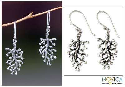 Sterling silver dangle earrings, 'Coral Frost' - Hand Crafted Sterling Silver Dangle Earrings