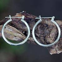 Sterling silver hoop earrings, 'Moonlit Goddess' (medium) - Sterling Silver Hoop Earrings (Medium)