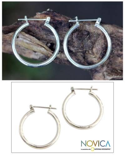 Sterling silver hoop earrings, 'Moonlit Goddess' (1 inch) - Sterling Silver Hoop Earrings (Medium)