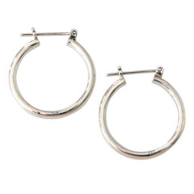 Sterling silver hoop earrings, 'Moonlit Goddess' (1 inch) - Sterling Silver Hoop Earrings (1 Inch)