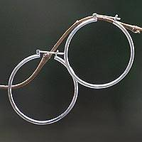 Sterling silver hoop earrings, 'Moonlit Goddess' (2 Inch) - Unique Sterling Silver Hoop Earrings (Large)