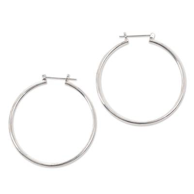 Sterling silver hoop earrings, 'Moonlit Goddess' (2 Inch) - Unique Sterling Silver Hoop Earrings (2 Inch)