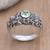 Peridot band ring, 'Coral Treasure' - Handmade Sterling Silver and Peridot Ring thumbail