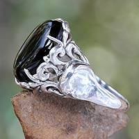 Onyx cocktail ring, 'Night Shadow'