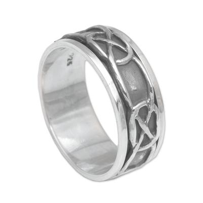 Men's sterling silver meditation spinner ring, 'Chains' - Hand Made Men's Sterling Silver Meditation Spinner Ring
