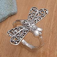 Sterling silver cocktail ring, 'Lucky Dragonfly' - Artisan Jewelry Sterling Silver Cocktail Ring