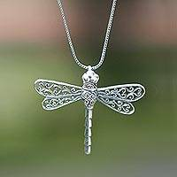 Sterling silver pendant necklace, 'Lucky Dragonfly'