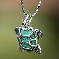 Sterling silver pendant necklace, 'Chelonia Turtle' - Sterling Silver and Reconstituted Turquoise Necklace