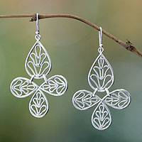 Sterling silver dangle earrings, 'Fern Flower' - Handcrafted Sterling Silver Dangle Earrings
