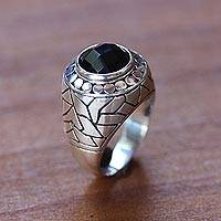 Men's onyx domed ring, 'Denpasar Hero' - Men's onyx domed ring