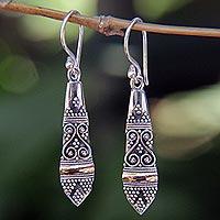 Gold accent dangle earrings, 'Ubud Dancer' - Gold accent dangle earrings
