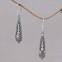 Gold accent dangle earrings, 'Balinese Sisters'