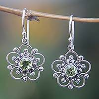 Peridot flower earrings, 'Nature's Gift' - Handcrafted Floral Peridot Dangle Earrings