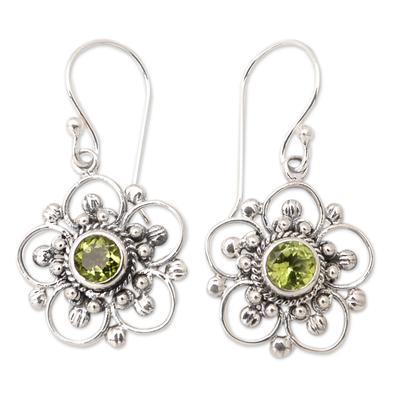 Peridot flower earrings, 'Nature's Gift' - Handcrafted Floral Peridot Dangle Earrings