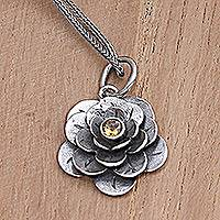 Citrine flower necklace, 'Holy Lotus' - Hand Crafted Sterling Silver Citrine Pendant Necklace