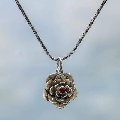 Garnet flower necklace, 'Holy Lotus' - Floral Sterling Silver and Garnet Pendant Necklace