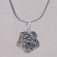 Amethyst flower necklace, 'Holy Lotus' - Artisan Crafted Silver and Amethyst Flower Necklace