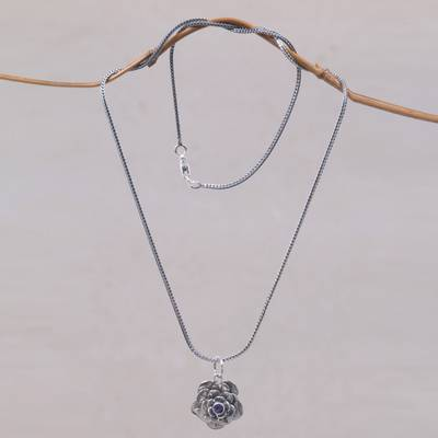 Amethyst flower necklace, 'Holy Lotus' - Artisan Crafted Silver and Amethyst Flower Necklace